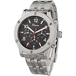 Alienwork Quartz Watch Multi-function Wristwatch Metal black silver QH-5070-02