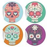 24 coole mexikanische Sugar Skull Aufkleber   Sticker, MATTE universal Papieraufkleber für Einladungen, Geschenke, Etiketten für Tischdeko, Pakete, Briefe und mehr (ø 45mm