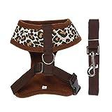 Forepin® Soft Hundegeschirr Weste Gepolstert Welpengeschirr mit Leine Brustgeschirr Leopard Größe L