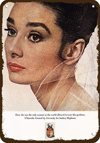 1973 L'Interdit Vintage Look Replica Metal Sign 8' x 12'- Audrey Hepburn - Not Perfume!
