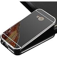 Vandot Lusso Ultra Slim Thin Custodia Specchio in Alluminio per HTC ONE M9 Mirror Protettivo Metallo Bumper Cover Rigida Alluminio Metallo Specchio Back Cover Bumper Mirror Case Skin Shell per HTC ONE M9 - Nero