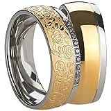 Freundschaftsringe - Partnerringe - Verlobungsringe - Trauringe - Hochzeitsringe - Eheringe aus Edelstahl in gold und silber Damenring mit Zirkonia Steine und verzierungen.