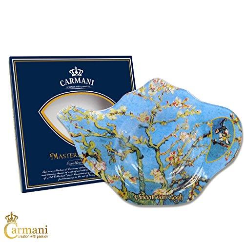 CARMANI - Élégant Tea Bag Holder Plat en forme Théiere, décoré avec 'FLEUR AMANDE' Avec Vincent van Gogh