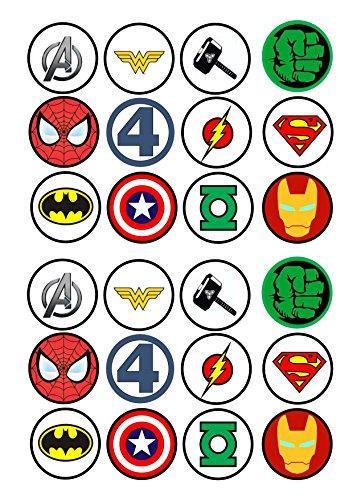 24Kuchen Topper 4cm auf Zuckerguss-24Superheld Avenger Logos