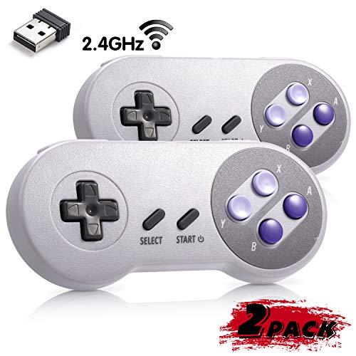 2 Pack iNNEXT 2.4G Wireless Controller Chargeable Classic SNES USB Gamepad Joystick mit USB-Empfänger/Ladekabel für Spiele,Unterstützung PC Windows Mac und Retropie Gamepad NES/SNES Emulator (Pc Für Snes Controler)