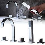 RANZIX - Set doccia con rubinetteria a cascata a 5 fori per bordo vasca da bagno, con doccetta