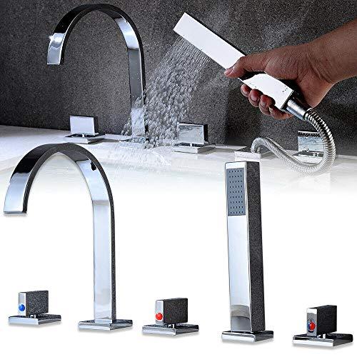 RANZIX Wannenrandarmatur 5-Loch-Badewanne wasserhahn Wasserfall Armatur Duschsystem Bad mit Handbrause Elegant Klassisch Duschsets,Silber -