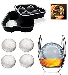 "KARPâ""¢ Flexible Silicone Spherical 4 Round Ball Ice Cube Tray Maker Mold With Lid Perfect Ice Spheres For Whiskey Lovers Cocktails, Non-Alcoholic Beverages"