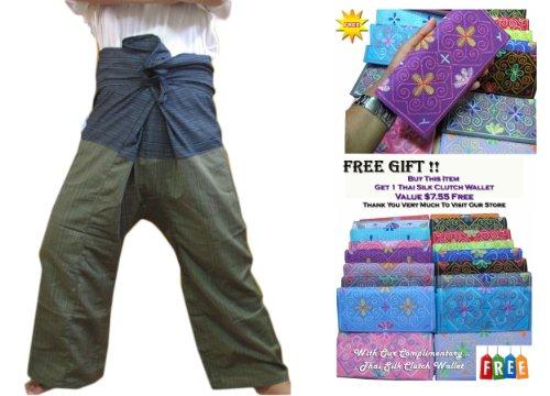 Thai Fisherman Hose Yoga Hosen gratis Größe Plus Größe Baumwolle Streifen ()