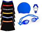 #5: Swimming kit for boys Kids & Men with Swimming Shorts, Silicone Swim cap, goggle, 2 pair ear plugs and 1 nose clip combo ( BLue )