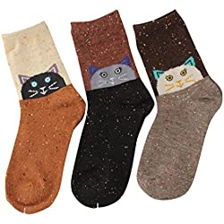 Calcetines de Algodón de Mujeres-3 Pares, LILICAT® Calcetines Casuales de Diseño de Dibujos Animados Lindo, Calcetines de Lana Suave de Moda, Medias y calcetines para adultos (Gato - 3 P)