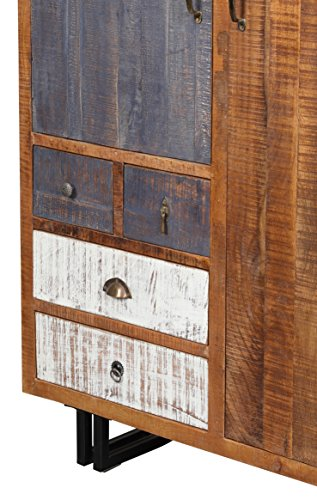 The Wood Times Kommode Schrank Massiv Vintage Look Rustic Mangoholz, FSC Zertifiziert, BxHxT 120x142x40 cm - 4