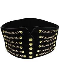 Gleader Large ceinture elastique pour femme Noir Design cool de chaine  blonde e7f5f28012b