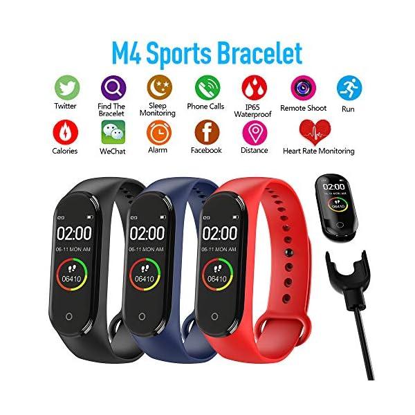 BATHRINS Pulsera Inteligente, [Actualización] M4 Fitness Tracker Rastreador de Actividad Bluetooth Impermeable Monitor… 2