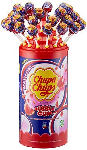 Preisvergleich Produktbild Chupa Chups Maxi Bubble Gum Cherry Lutscher-Dose,  80 Stück – 1, 44 kg fruchtige Lollis mit leckerem Kaugummi-Kern