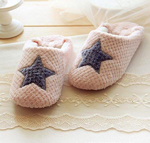 HH Hiver pantoufles d'intérieur ouate épaisse et chaude coton tissé à la main motif chaussons pantoufles 1