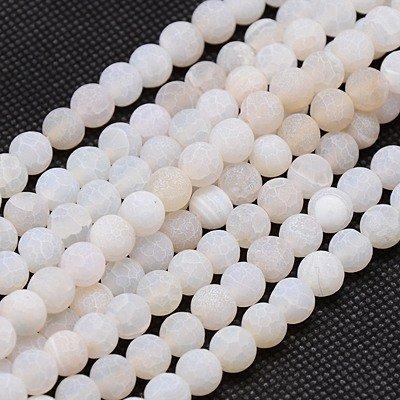 Perlin - 30stk. Frosted Matt Achat Edelstein Perlen Natur Weiß 8mm Rund Edelsteine Halbedelstein Schmuckstein Schmuckperlen Bastelperlen R304 x2 -