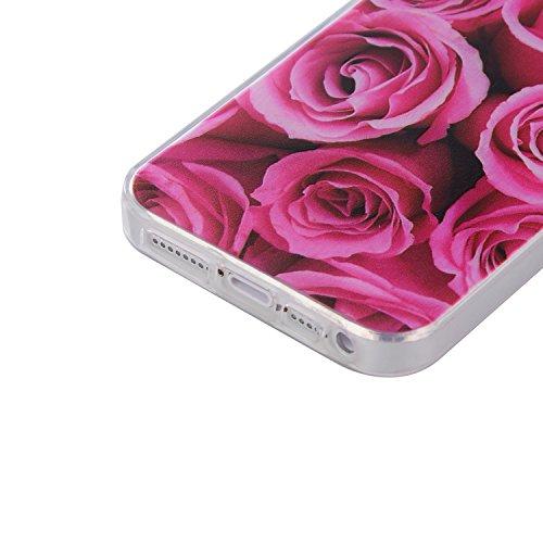 Apple iPhone 5/5S/SE Case,Feeltech  Gratuit Stylet  Premium Slim Coque TPU Gel Ultra Mince Étui Protecteur Housse Clair Nouveau Collection Avec Silicium Colorée Dessin Motif Protection Couverture Arri Une rose