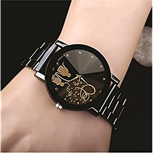 Black Dial Stainless Steel Chrome Plated Mens Watch & Women Watches Couple Watch (Women & Girl Size)