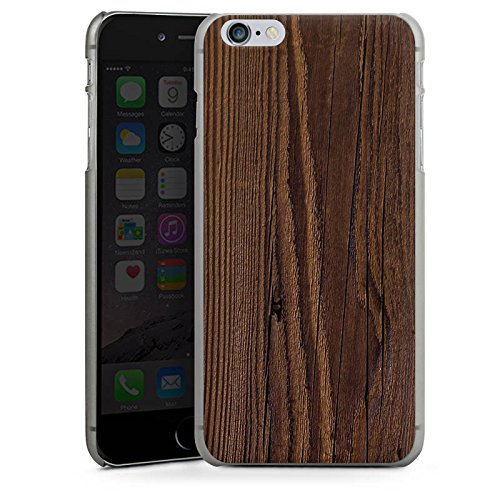 Apple iPhone X Silikon Hülle Case Schutzhülle Holz Look Maserung Hard Case anthrazit-klar