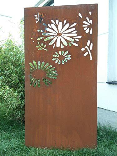 Zen Man Edelrost Garten Sichtschutz aus Metall Rost Gartenzaun Gartendeko edelrost Sichtschutzwand H180*50cm 031648-6