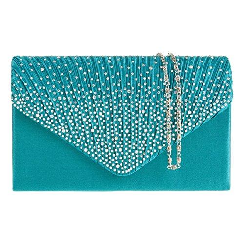 UKFS Satin Plissee & Schaum Diamante Anna Clutch Handtasche / Damen Mädchen Designer-Hochzeits-Umhängetasche / Abendtasche (Grün) Teal Blau