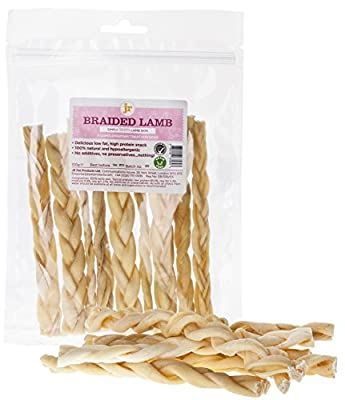 "100g Braided Lamb Skin (Approx 10 Sticks) 6"" Inch Natural Dog Treat Chew Gluten & Grain Free By JR Pet Products"