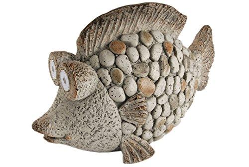 Unbekannt Heim Dekorative Gartenfigur Fisch aus Kieselsteinen mit Solar Augen