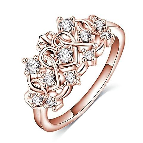 Daesar Damen-Ring Rose Gold Herz Ring Rund Ringe Vergoldet Edelstahl Partnerschaftsringe Trauringe Verlobungsring Größe 57 (18.1)