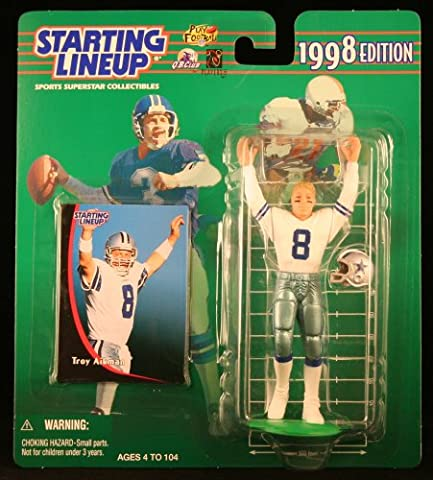 TROY AIKMAN / DALLAS COWBOYS 1998 NFL Starting Lineup Action Figure & Exclusive NFL Collector Trading Card