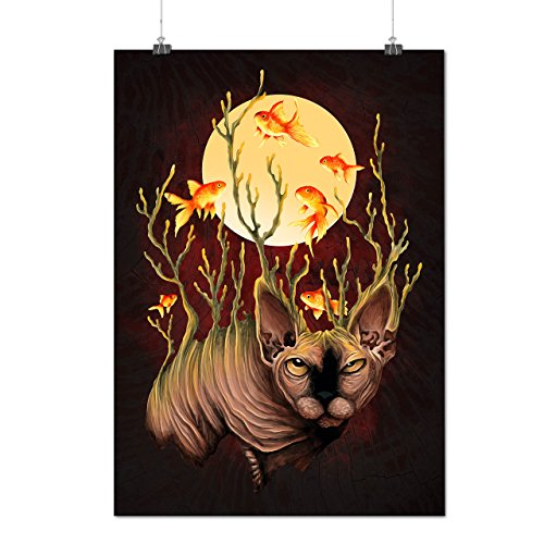 Katze Fisch Mond Mode Mattes/Glänzende Plakat A3 (42cm x 30cm) | (Fisch Hut Katze Im Kostüme)