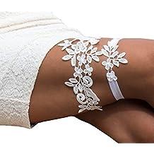 Lemandy Boda Garters Liguero para novia novia. Color marfil boda bandas de pierna Liga de encaje para fiesta y boda td011