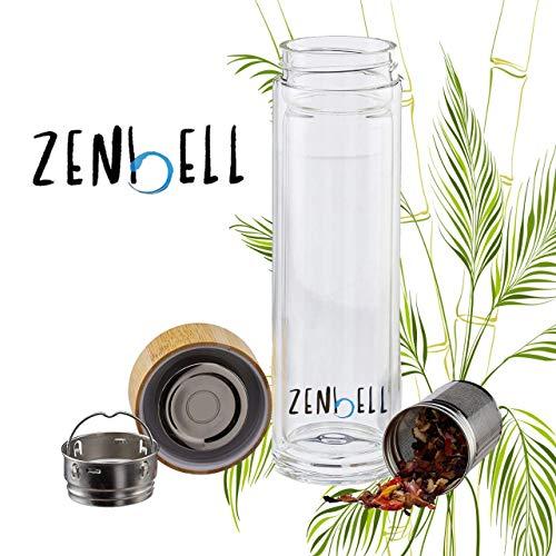 Teeflasche aus Glas mit Sieb - 400ml Tee Flasche Teekanne to go - Trinkflasche Indische Sonne - doppelwandig aus Borosilikatglas mit Hülle in Grau Tea bottle infuser