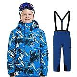 LSERVER Filles Garçon Costume de Ski Veste Neige Pantalon de Ski Blouson d'hiver...