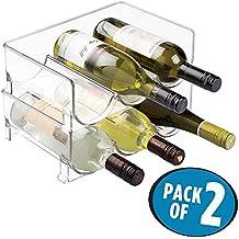 mDesign Juego de 2 botelleros de vino – Mueble botellero con capacidad para 3 botellas de