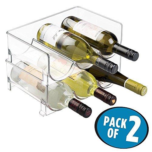 mDesign 2er-Set Flaschenregal ? stapelbare Aufbewahrung für Wasserflaschen bzw. Trinkflaschen ? ideal als Weinflaschenregal bzw. Weinflaschenhalter mit Platz für je 3 Flaschen ? durchsichtig