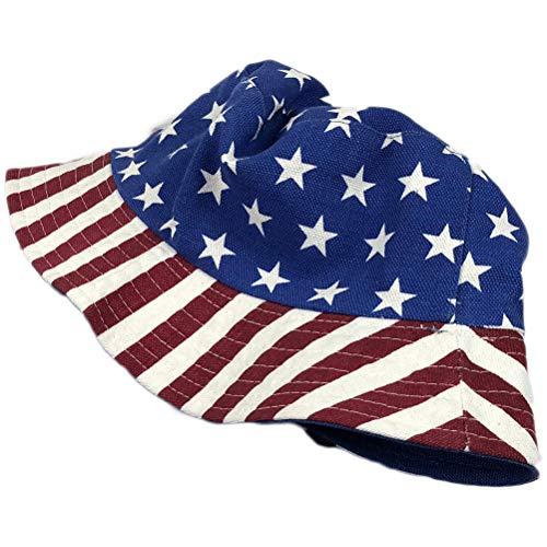 Amosfun Amerikanische Flagge Fischer Cap Stars and Stripes Muster zweiseitige Baumwolle Atmungsaktiv Sonnenschirm Sommer Hut Dress Up Kostüm ()