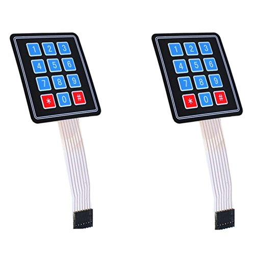 Optimus Electric 2pcs 3x4 Membrane Switch Matrix Keypad Thin and Flexible with Cable Connector and Adhesive Back for Easy Surface Attachment from (Switch Light Custom)