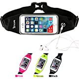 OXA Sweatproof Running Belt Waist Pack Reflective Fanny Pack Bum Bag Runners Pack Money Belt with Clear Touch Screen Window for Fitness, Running, Workouts, Cycling, Traveling and Other Outdoor Sports (4.7 inches, Black)