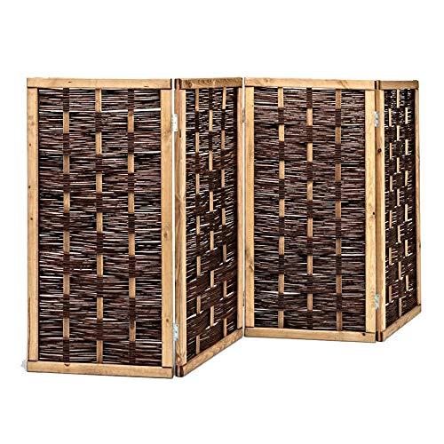 2. Wahl Weiden Paravent, Raumteiler, Restposten, 4-teilig aus Weide 120 x 240 cm