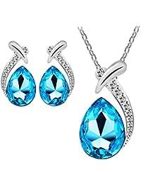 Yogogo Pendentif en cristal artificiel pour femme Pendentif en argent Ensemble bijoux en forme de collier et boucles d'oreilles