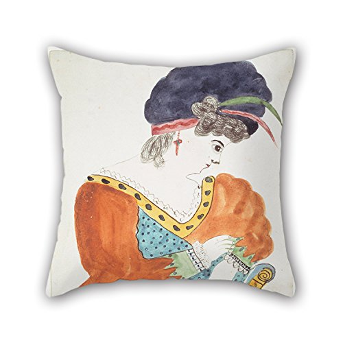 Slimmingpiggy Oil Painting Mary Ann Willson - Young Woman Wearing A Turban Pillowcase 20 X 20 Inches...