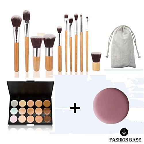 Fashion Base® Cadeau pour SES nouveaux 15 couleurs crème Contour visage Maquillage Correcteur Palette + 11 pcs Bambou Ensemble de brosse plate avec gratuit Mode Base Puff