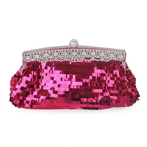 Strawberryer Ladies Handbags Sequins Mode Sac De Soirée Téléphone Portable Cosmétique Robe De Mariée KTV Nightclub Décoration Embrayage Redwine