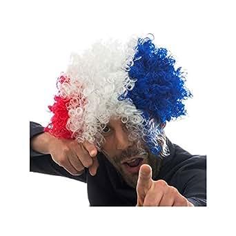 Perruque bleu blanc rouge drapeau français