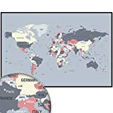 Weltkarte Wanddekoration - Weltkarte Wandbild Design Motiv XXL Poster - Design Style Worldmap (120 x 80 cm) (Grau)