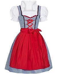 Gaudi-Leathers, Dirndl Set 3 tlg.Susi blau weiß kariert mit Schürze in rot