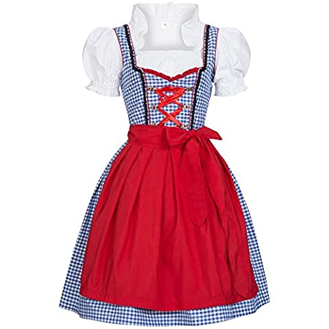 3 piece Susi blue white checkered traditional dirndl set: dress, blouse and apron for Oktoberfest, carnivals or theme parties Size