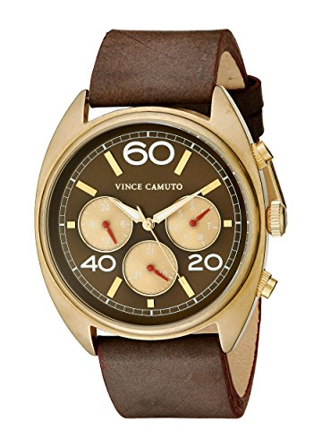 Vince Camuto VC/1053RDGP - Orologio da polso unisex, cinturino in pelle colore marrone