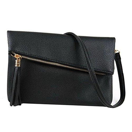 AiSi Damen Kleine Leder Umhängetasche, Mini handtasche mit trageriemen, Mode ledertasche mit Reißverschluss, Schultertasche Clutch für Frauen (Schwarz) - Leder Mini-clutch